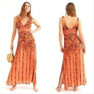 Free People | Claire Printed Maxi Slip Dress sz L✨